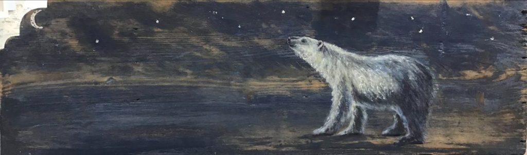 Tanya Hinton - 'Nocturne' Oil and silver leaf on reclaimed wood panel. 67x21cm