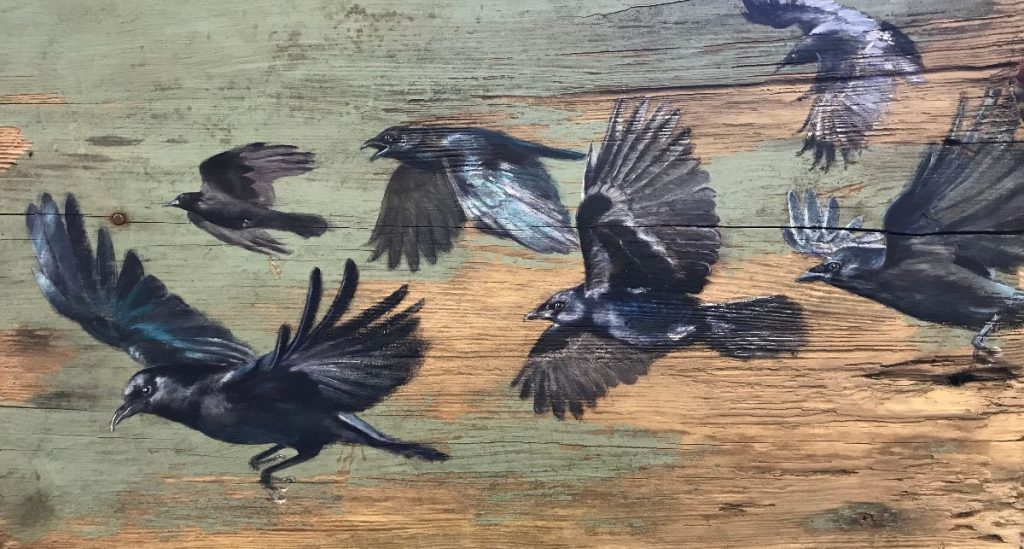 Tanya Hinton - 'In to the wild' Oil on reclaimed wood panel