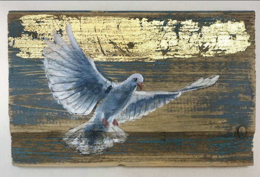 Tanya Hinton - 'Lovey Doveys' Oil and gold leaf on wood. Each approx 18x10cm