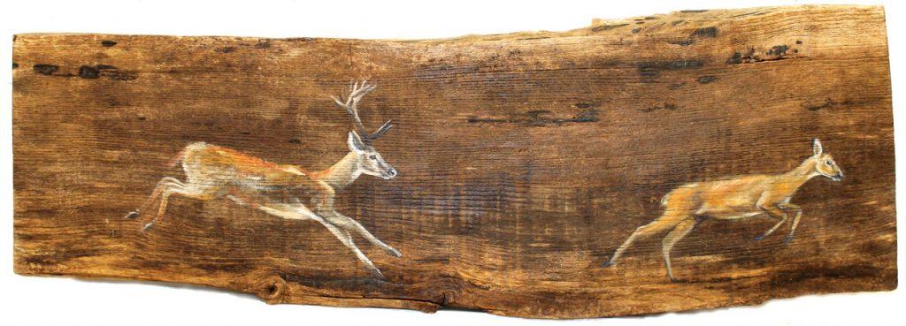 'Culhwch and Olwen' Oil on reclaimed wood. 67 x20 cm - Tanya Hinton
