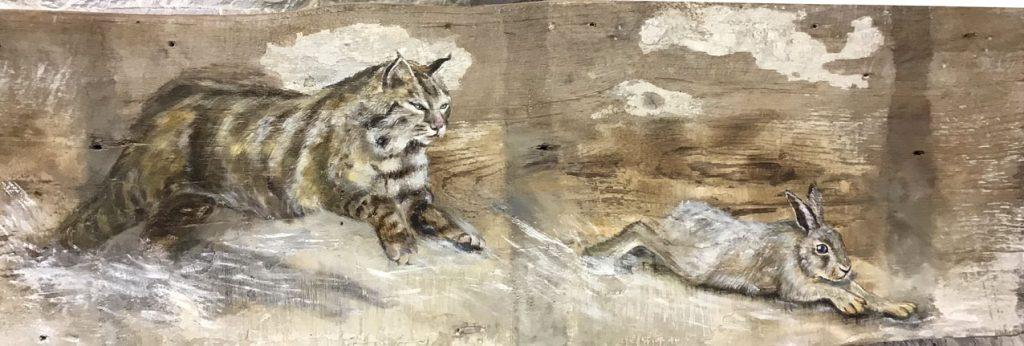 'Demeter'. Oil on reclaimed wood. 90 x 33cm - Tanya Hinton