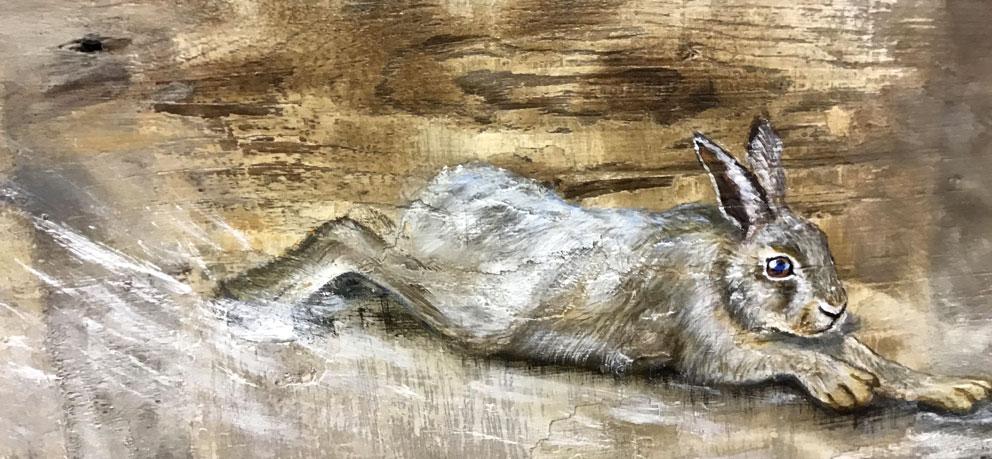 'Demeter'. (detail). Oil on reclaimed wood. 90 x 33cm - Tanya Hinton