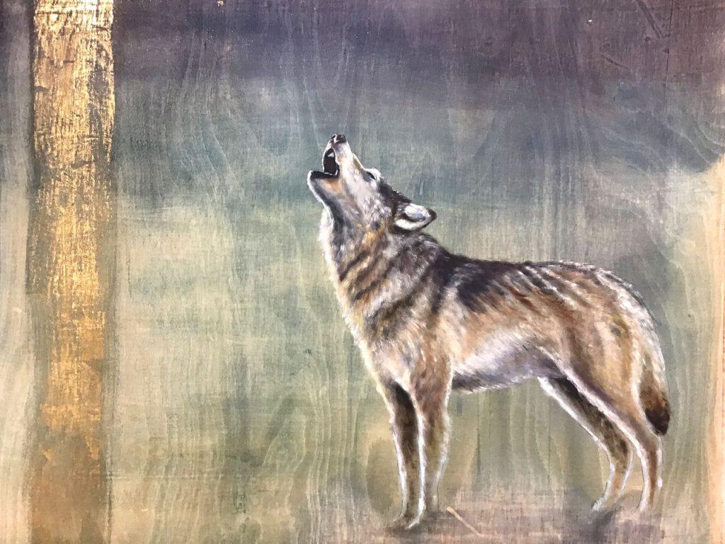'Fenrir' Oil with gold leaf on wood. 100 x 90cm - Tanya Hinton
