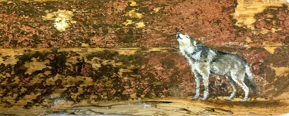 'Filtiarn' Oil with gold leaf on wood. 28 x14 cm SOLD - Tanya Hinton