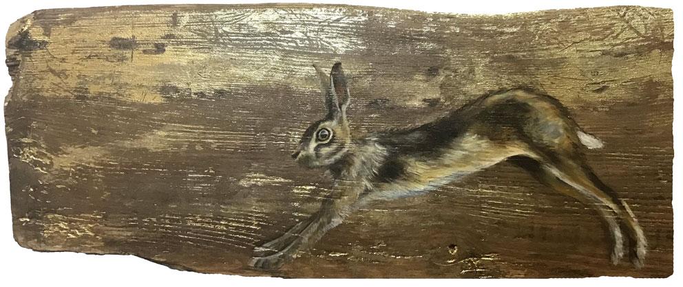 'Gilda' Oil with gold leaf on wood. 54 x 22cm - Tanya Hinton