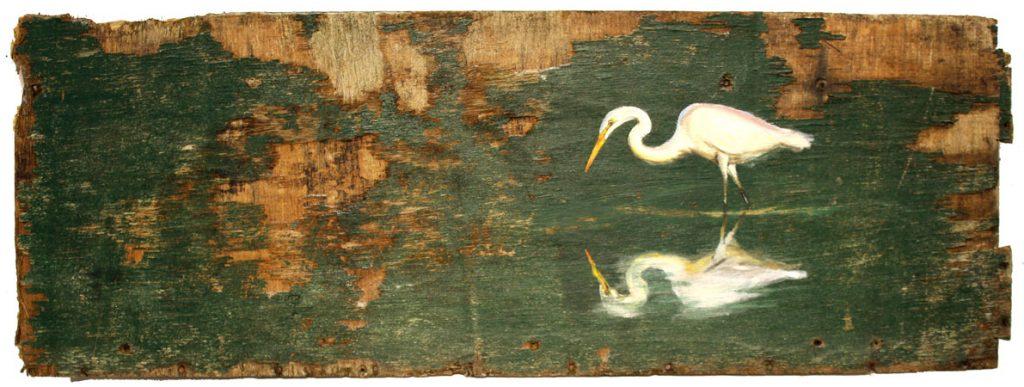 'Gretta'. 81x29cm. Oil on reclaimed wood. - Tanya Hinton