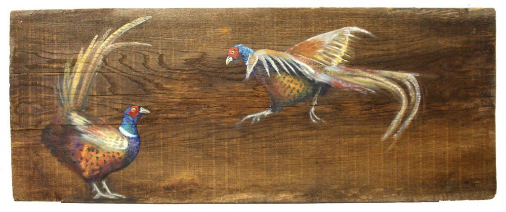 'Gullinkambi and Fjalar' Oil on reclaimed wood. 105 x42 cm - Tanya Hinton