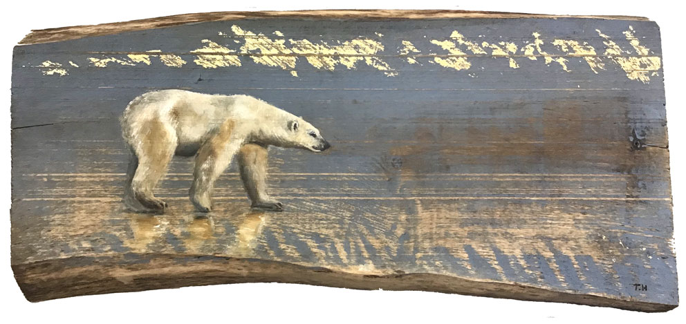 'Hodor' Oil with gold leaf on wood. 58 x 24cm - Tanya Hinton