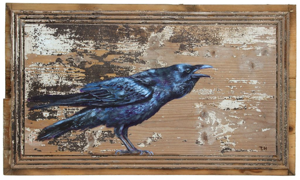 'Hugin's Cry' Oil on wood 56 x 36cm. - Tanya Hinton