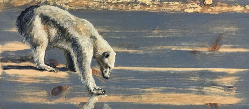 'Ice Walker' Oil on reclaimed wood. 80 x 34cm - Tanya Hinton