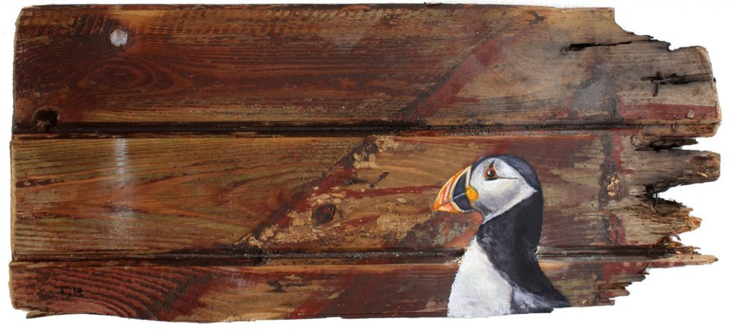 'Lunni' Oil on reclaimed wood. 34 x 20cm - Tanya Hinton