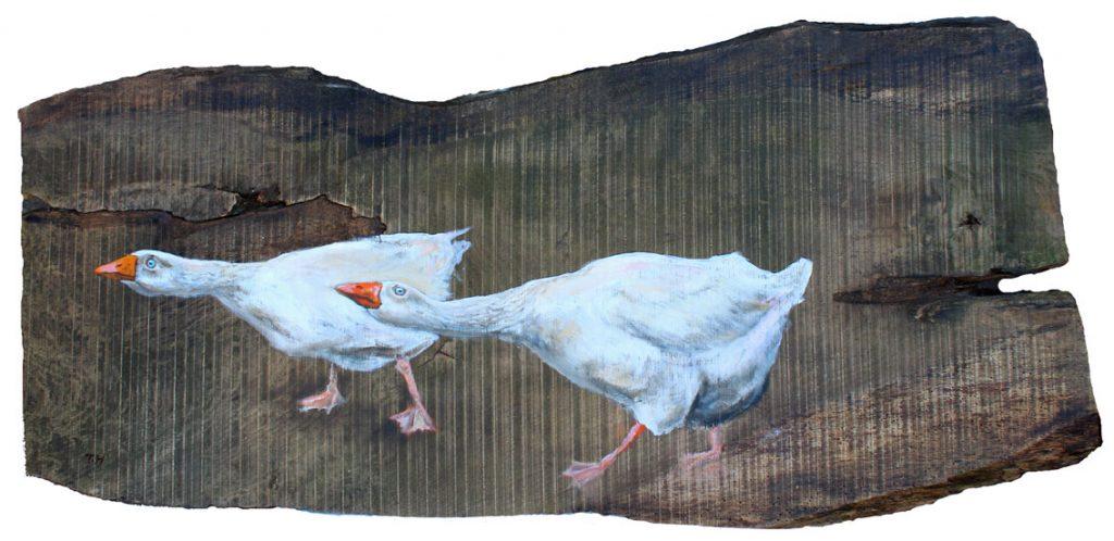 'Marmaduke and Myrtle'. Oil on reclaimed wood. 115 x 43cm. - Tanya Hinton