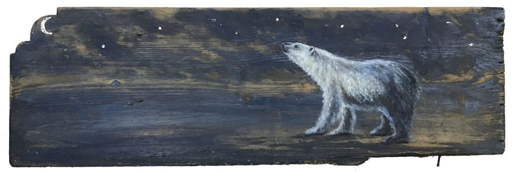 'Nocturne' Oil with silver leaf on wood. 67 x 21cm - Tanya Hinton