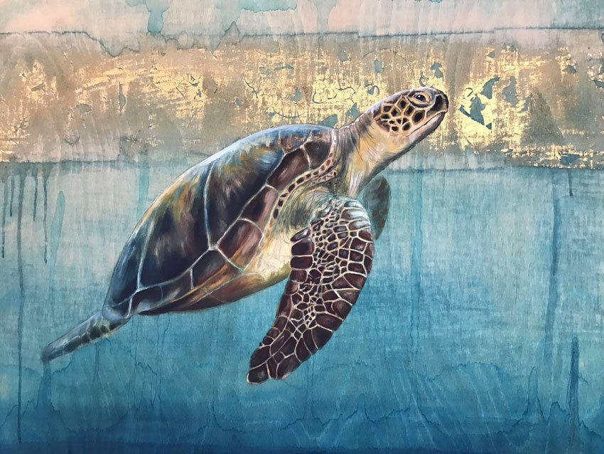 'Oceania' Oil with gold leaf on wood. 61 x 46cm - Tanya Hinton