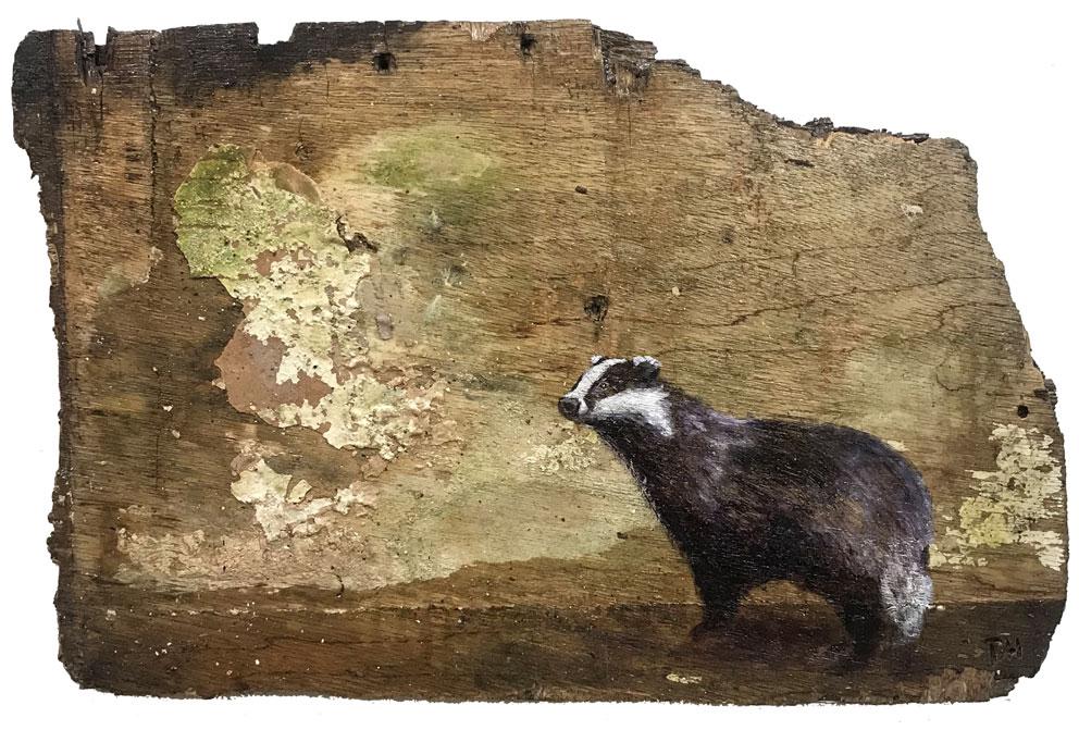 'Rubus' Oil on reclaimed wood. 62 x 49cm - Tanya Hinton