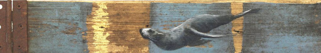 'Selkie' Oil with gold leaf on wood. 52 x 22cm - Tanya Hinton