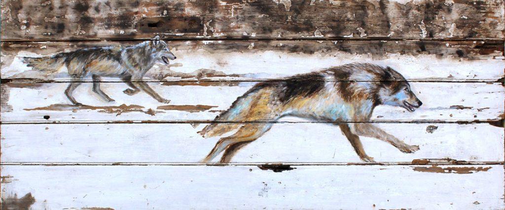 'Skoll and Hati'. Oil on wood 185x70cm. - Tanya Hinton