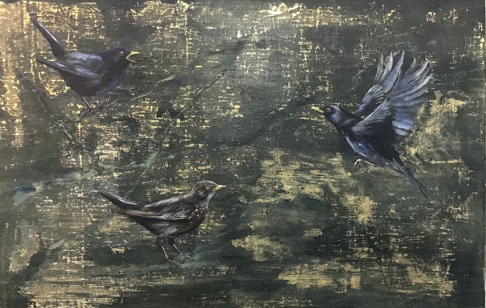 'Song of the Storm' Oil with gold leaf on wood. 58 x 38cm - Tanya Hinton