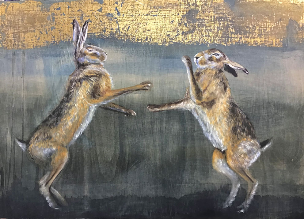'Spring Dance' Oil with gold leaf on wood. 98 x 34cm - Tanya Hinton