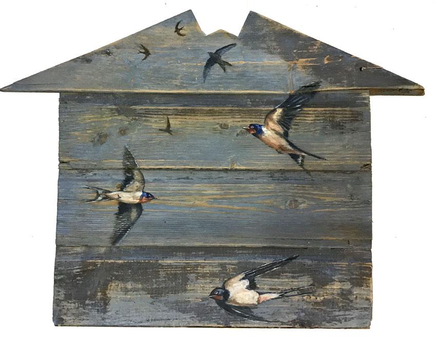 'Summer Sky' Oil on reclaimed wood. 61 x 44cm - Tanya Hinton