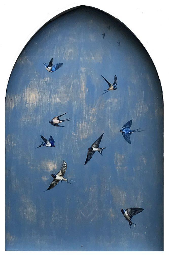 'Summer Sky' (exterior window piece). Acrylic on board - Tanya Hinton
