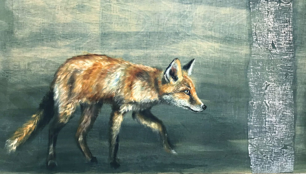'Night Walker' oil and silver leaf on wood panel. 40x92 cm - Tanya Hinton