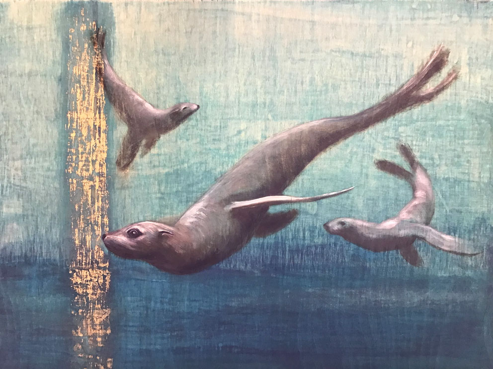 'Selkie' oil and gold leaf on wood panel 40x92cm - Tanya Hinton