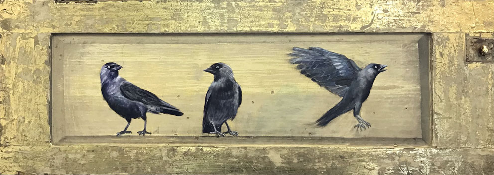 'The Watchmen' oil and gold leaf on wood panel 95x36cm - Tanya Hinton