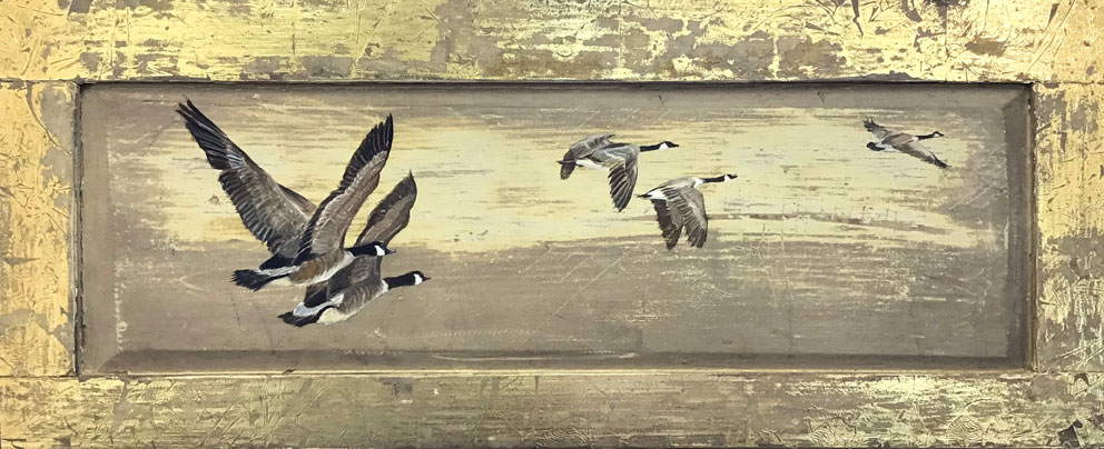 'Urge For Going' oil and gold leaf on wood panel 85x36cm - Tanya Hinton